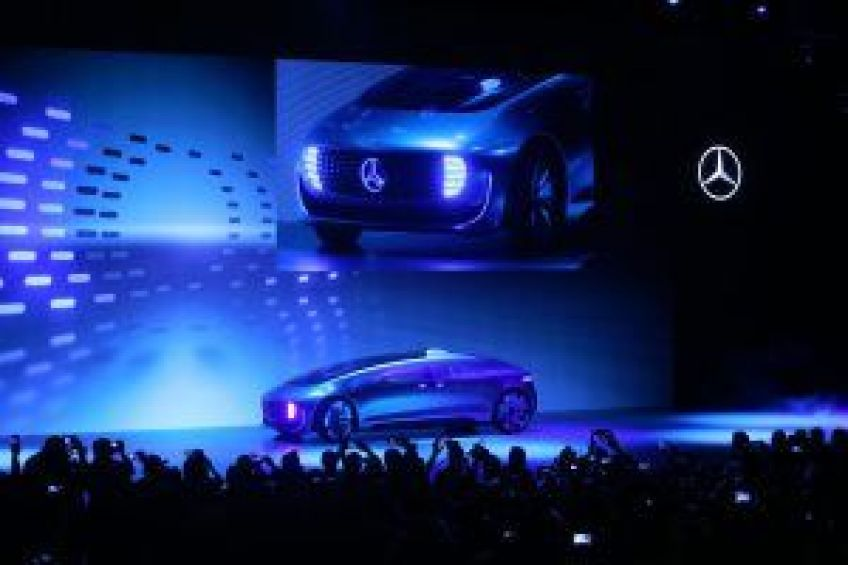 Mercedes-Benz new concept car F 015 was revealed during their keynote address