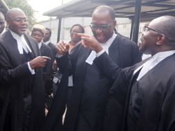 L R N C C Leading Counsel, Yusuful Ali, SAN Prof. Taiwo Osipitan SAN and Dr Muiz Banire, during MTN V NCC Case held at fed. high court Lagos  (6)