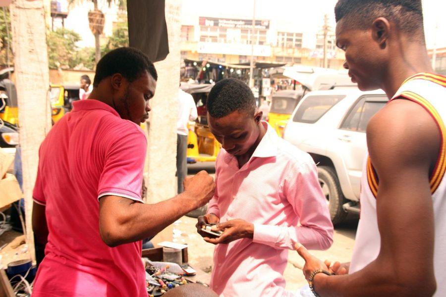 Commercial activities underway at Ikeja Computer Village, Nigeria's biggest technology market