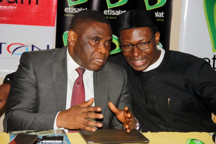 Technology Times file photo shows Mr Tony Ojobo, Director, Public Affairs, NCC (left) and Mr Gbenga Adebayo, Chairman of ALTON, at a tech event.