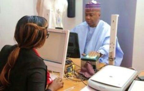 Senate President, enrols for the National Identification Number(NIN)