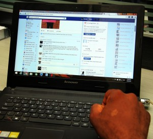 A user pictured on Facebook on his Laptop
