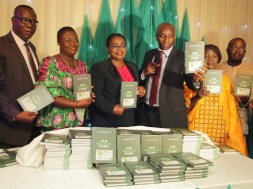 Dr. Henry Nkemadu, head policy&research, NCC. Olabisi Olaleye,  the Author of the book,  Funke Egbemode editor-in- chief of new Telegraph,  Stanley Okpalaeke,group executive director, Zinox group. (2)