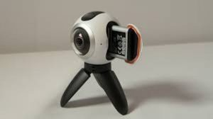 The Gear 360 Camera on Tripod stand and battery view