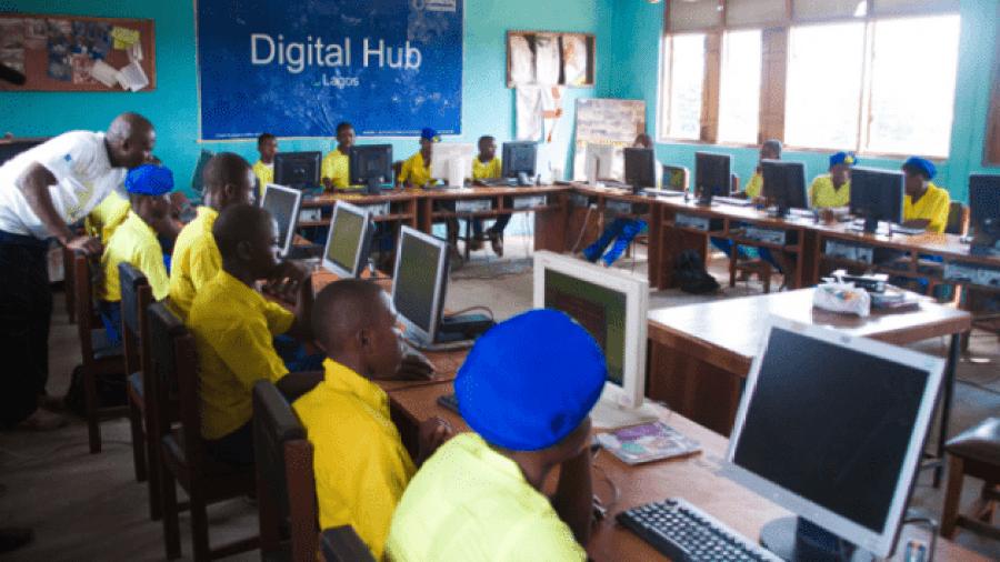 Cross section of student having digital training