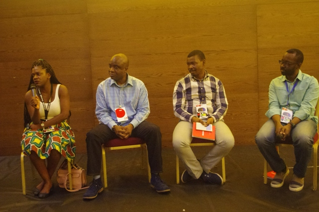 Monique Woodard of 500 Startups, left, ; Eghosa Omoigui of EchoVC; Collins Onuegbu of Lagos Angel Network and Tayo Oviosu of PagaTech Saturday at the #TechPlus2016 session in Lagos