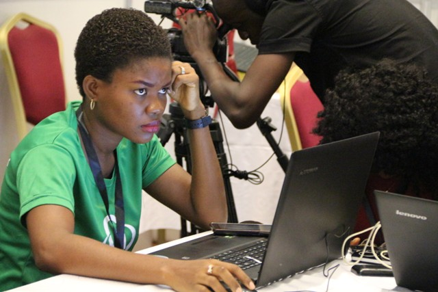A computer user seen at the #TechPlus2016 technology exhibitions in Lagos