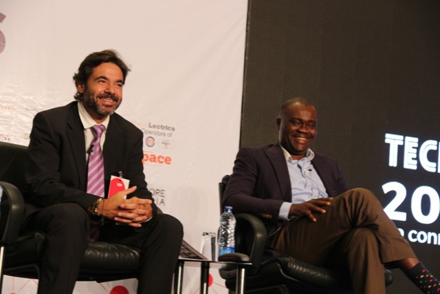Josep Ramon Ferrer,(L)former smart city director of Barcelona, Spain at the panel session
