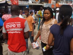 Economic hub: People seen walking inside Ikeja Computer Village in Lagos, Nigeria's biggest technology market cluster