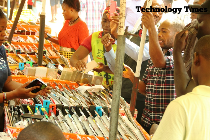 Mobile market….Technology Times file photo shows a phone shop at Ikeja Computer Village in Lagos