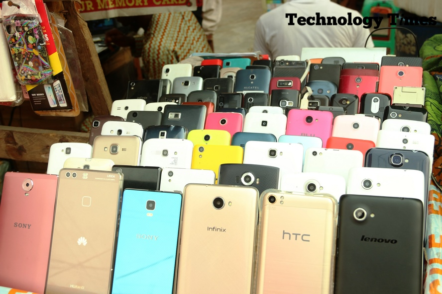 Technology Times photo shows phone brands seen on display at Computer Village in Ikeja, Lagos