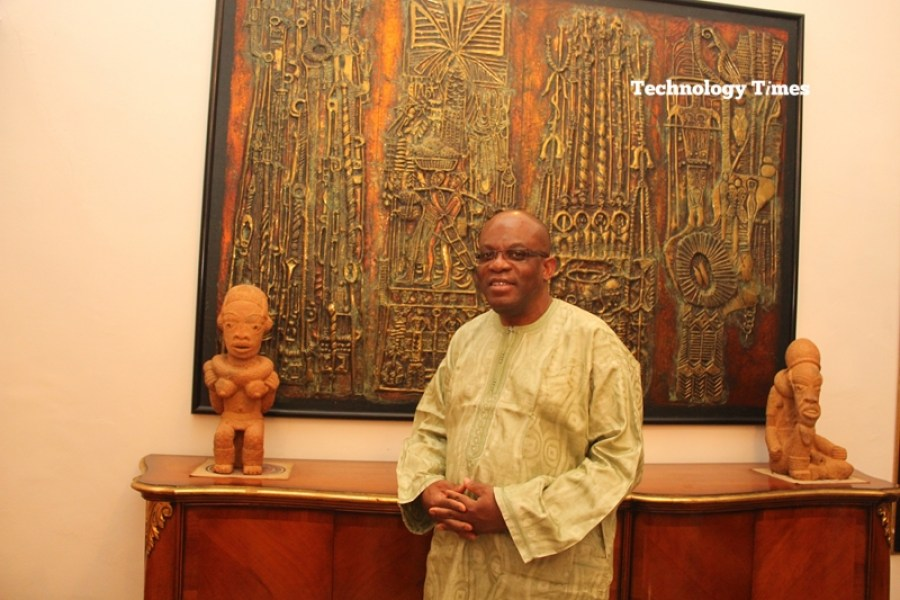 Mr Paul Usoro, Senior Advocate of Nigeria (SAN) and Senior Partner, at Paul Usoro & Co, (PUC), seen in photo above inside his home, says that the auctions that introduced the big mobile operators into Nigeria has changed the economic landscape for the better