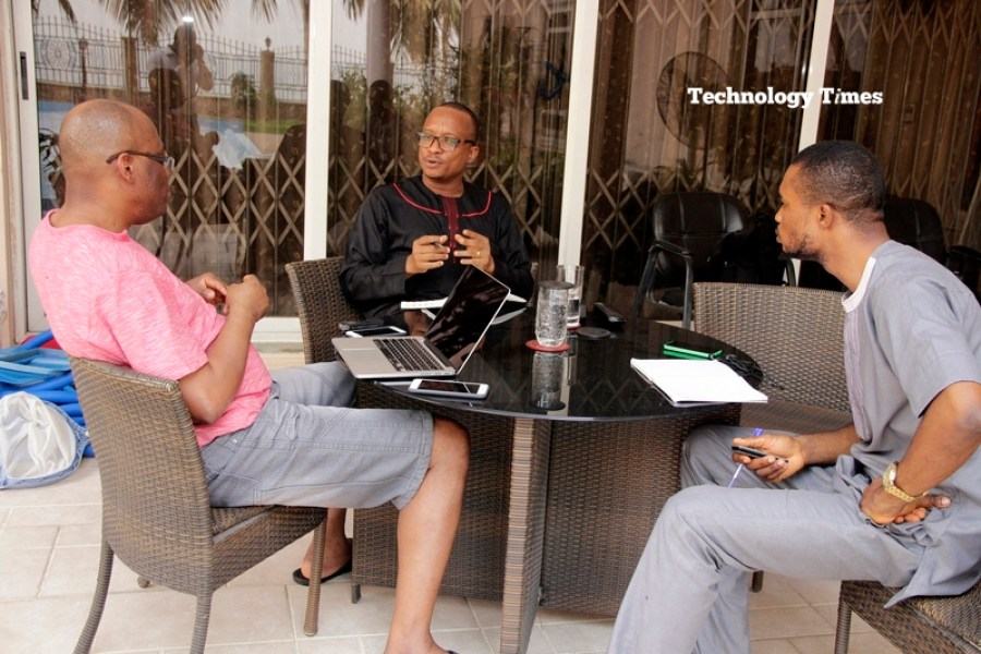 Mr Paul Usoro, (seen on the left of photo above), Senior Advocate of Nigeria (SAN) and Senior Partner, at Paul Usoro & Co, (PUC), in the interview with Technology Times team of Kolade Akinola (right) and Shina Badaru, on the left at his Victoria Island home in Lagos