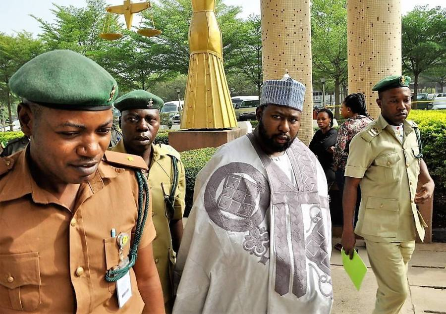 Photo released by EFFC shows Shamsudeen Bala, son of a former Minister of the Federal Capital Territory, Senator Bala Mohammed, in court at Abuja during the trial for alleged fraud