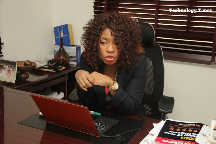 Mrs. Helen Anatogu, Chief Executive Officer of iDEA Hub, seen during the interview with Technology Times