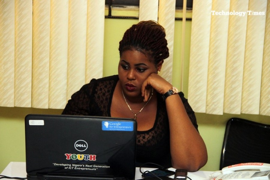 A lady seen at work inside the Information Technology Developers Entrepreneurship Accelerator (iDEA) Hub in Yaba, Lagos.