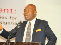 Leo Stan Ekeh, Chairman, Zinox Technologies, and winner of the maiden edition of Technology Times Person of The Year 2016 Award, seen in photo on Thursday delivering a keynote presentation at the #TTOutlook17 held by Technology Times at The MUSON Centre in Lagos