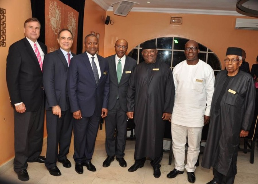 From left: Ambassador Stuart Symington, John Coumantaros, Alhaji Aliko Dangote, Governor Godwin Emefiele, Abdulsamad Rabiu, Adewale Tinubu and Alhaji Ahmed Joda