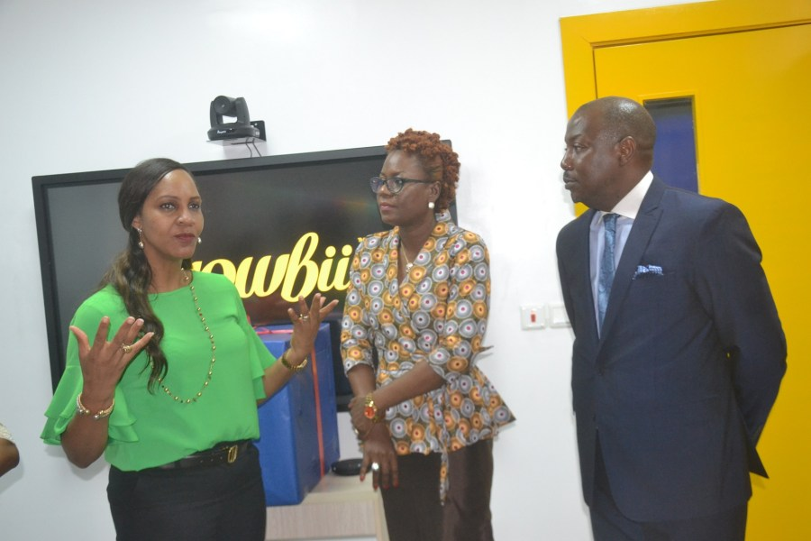 Head of School, RiverBank School, Regina Jemide (seen on the left); CEO, Wowbii Interactive, Terae Onyeje and the Managing Director, Equipment Hall, Gbolahan Olayemi, during the formal certification of RiverBank School as a BuddZone, an interactive learning environment, by Wowbii Interactive, in Lagos.