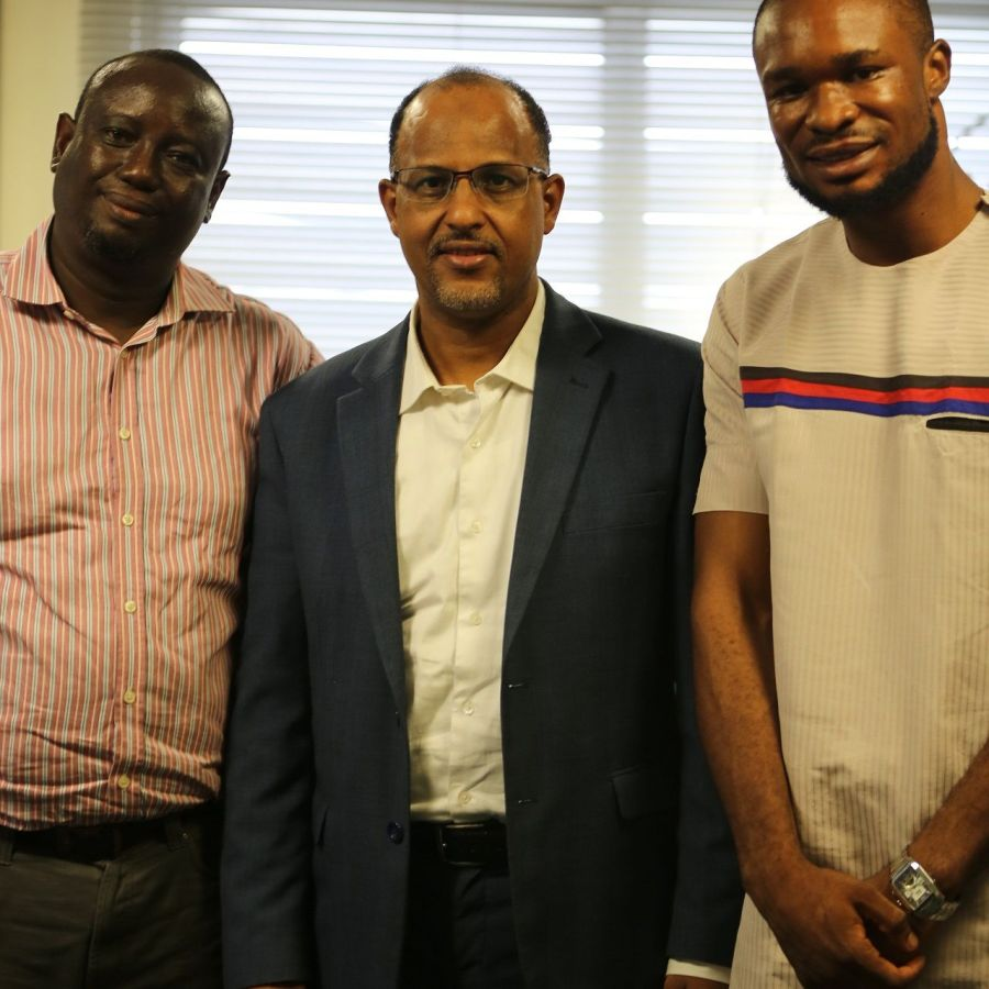 Mr Mohamed Rudman, President of Nigeria Internet Registration Association (NIRA) in middle, with Mr Foluso Busari, Executive Director, Technology Times, on the left, and Mr Kolade Akinola, author of this article and Editorial Team Lead, Technology Times, after the interview with Rudman in Lagos. Photo by Aduragbemi Akinpelu of Technology Times.