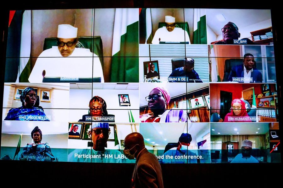 Cybersecurity comes to the fore: President Muhammadu Buhari and Ministers seen in photo attending a virtual Federal Executive Council meeting in what reflects growing adopting of technology across Nigeria.