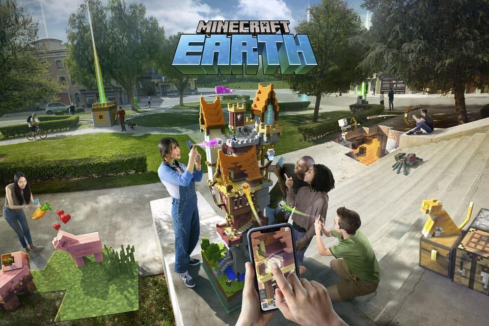 L'univers du jeu de Minecraft Earth de Microsoft