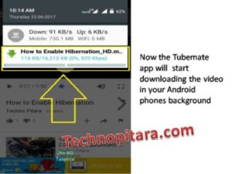Now the Tubemate app will start downloading the video in your Android phones background