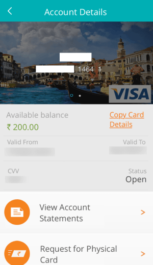 Virtual credit card app