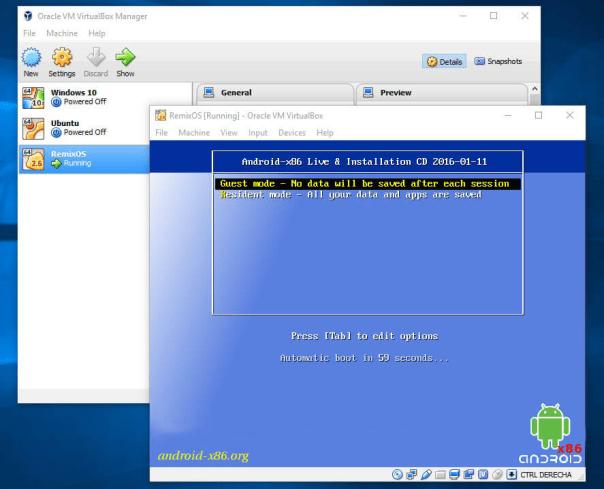 Remix OS in Virtual Box