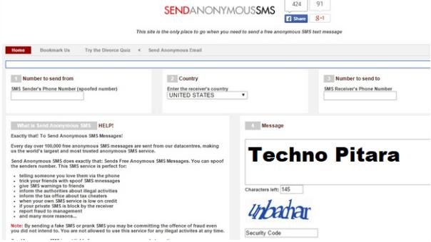 send anoymous text message internet