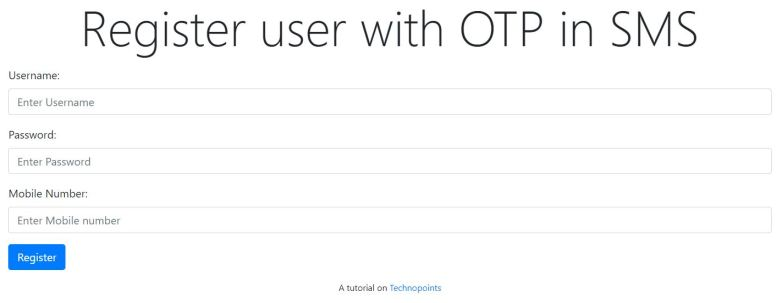 User Registration with SMS OTP verification using php