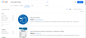Google Shopping Feature for Corona Safety Products