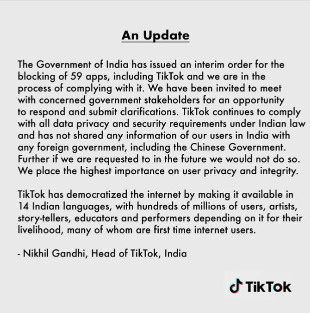 Tiktok Reaction on Chinese Apps Ban in India