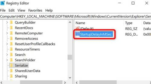 How to serialize to disable Windows 10 Startup Delay