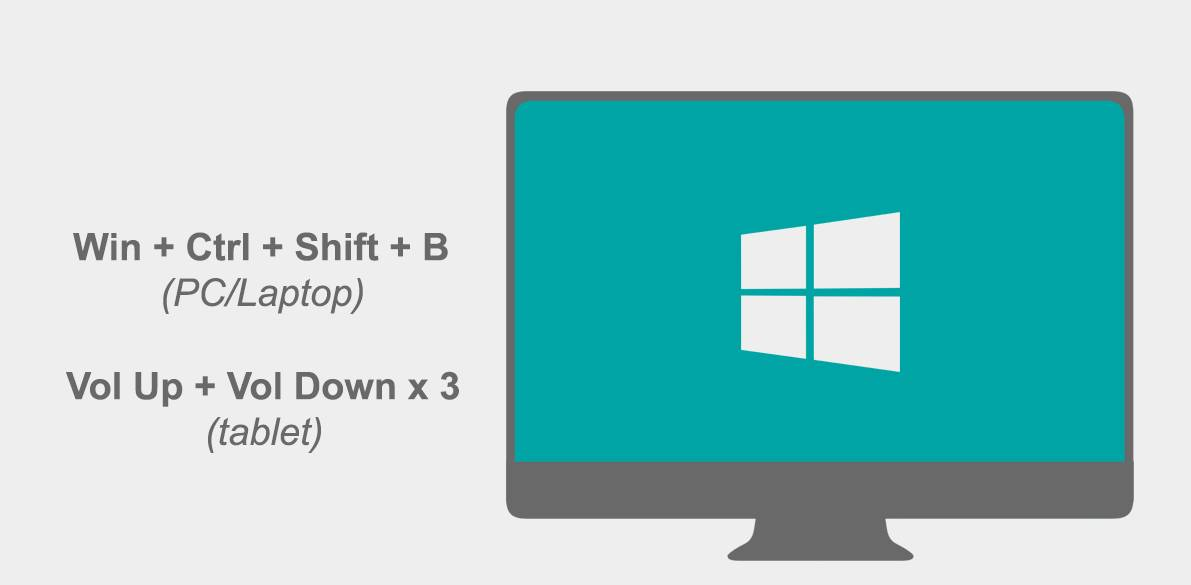 Win+Ctrl+Shift+B to fix a frozen windows PC screen