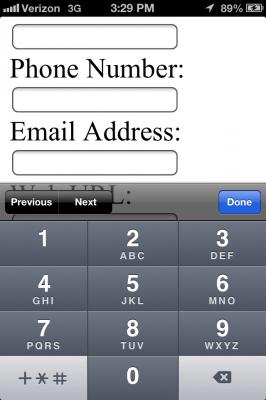 "iOS ""tel"" field"