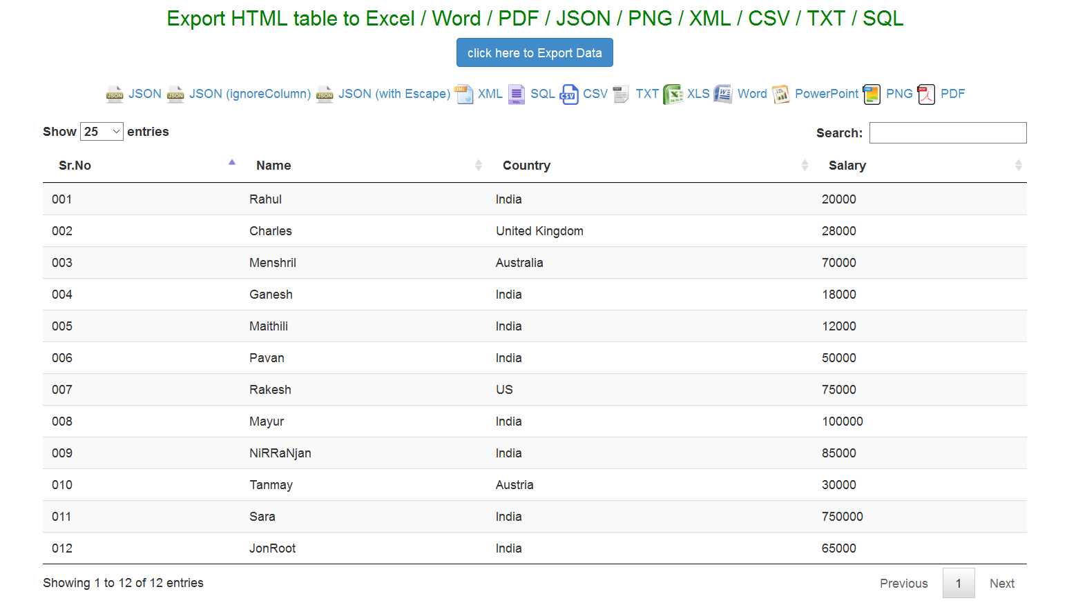 Export Html Table To Excel Word Json Using