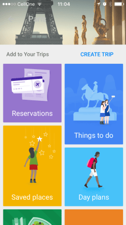 Google Trip App in iOS 10
