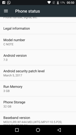 Android 7.0 OS in UMIdigi C Note
