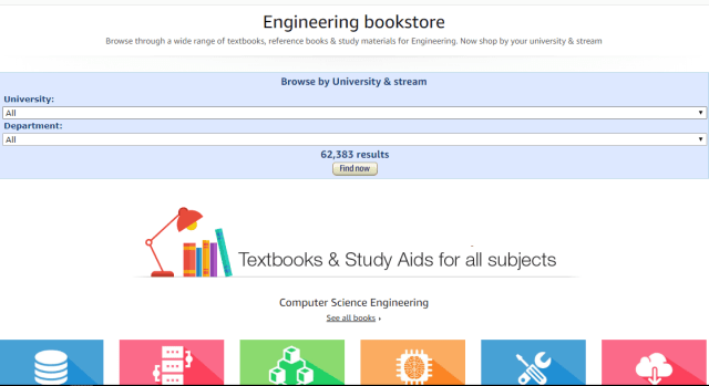 Amazon India opens a section of Engineering Textbooks