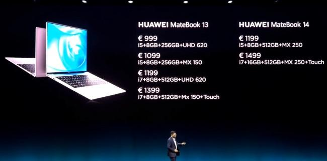 Huawei MateBook 13, MateBook 14 with FullView Display announced