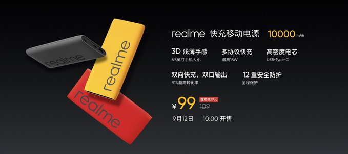 Realme launches 10,000mAh Power Bank in China for 99 Yuan