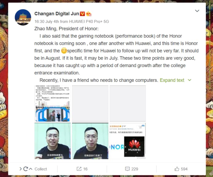 Honor will be launching Gaming Notebooks in July followed by Huawei