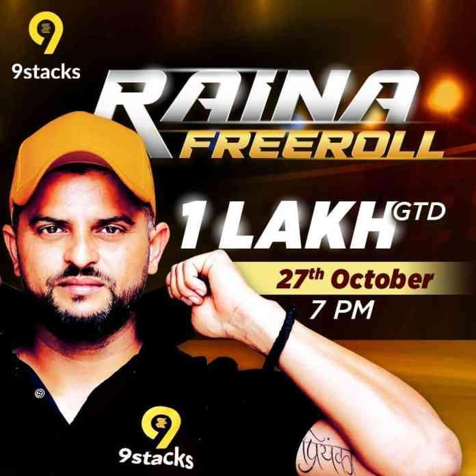 "9stacks celebrates the signing of Suresh Raina as brand ambassador by hosting ""Raina Freeroll"" tournament on 27th Oct 2020"