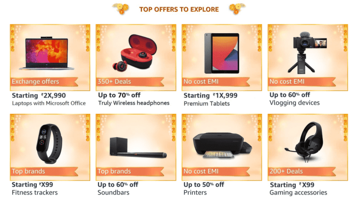 A quick look to the upcoming deals on Electronics & Accessories during Amazon Great Indian Festival sale
