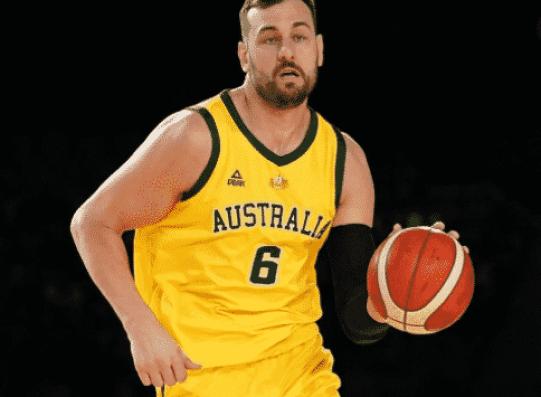 Andrew Bogut in action for the Australian national men's basketball team.