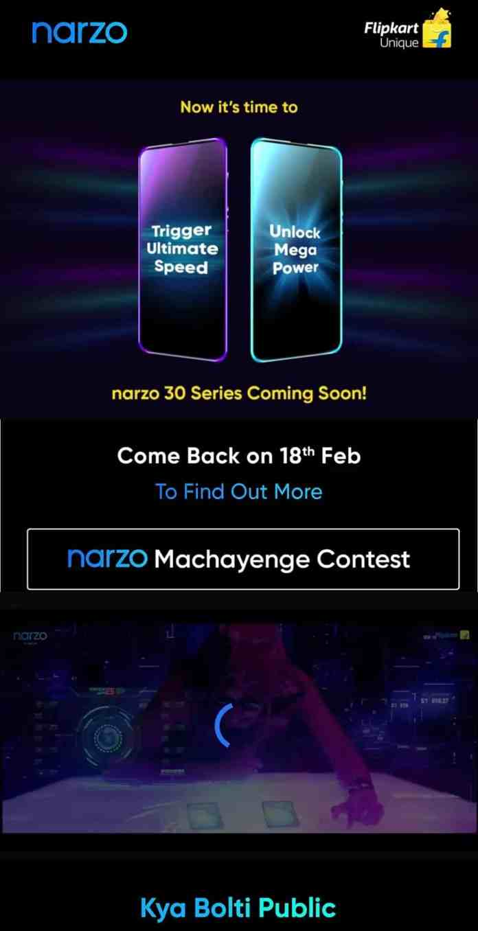 Realme Narzo 30 series Landing page is live on Flipkart