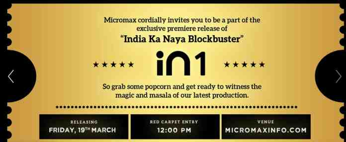 Micromax IN 1 is launching in India on March 19