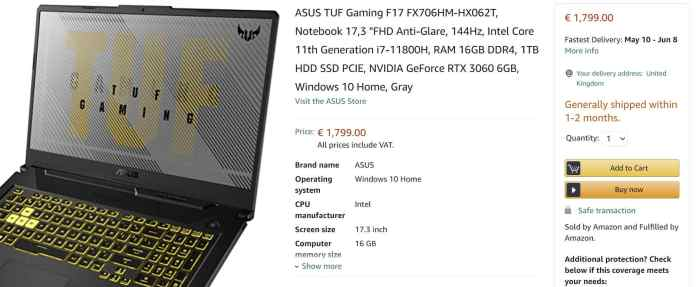 Upcoming ASUS TUF Gaming F17 with Intel Core i7-11800H & RTX 3060 spotted for 1799 EUR