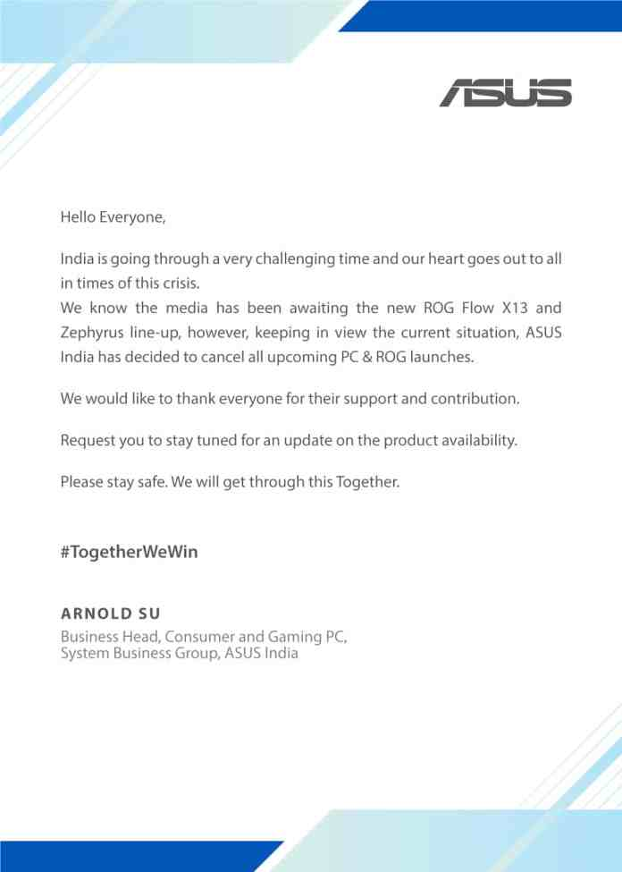 Exclusive: ASUS India cancels ROG Flow X13 and Zephyrus laptop India launches to be held on May 12th